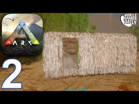 ARK SURVIVAL EVOLVED MOBILE - Building a House / Shelter - Gameplay Part 2 (iOS Android)