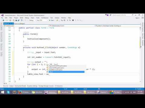 C # Tutorial , How to make Table Generator in GUI