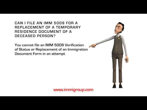 Can I file an IMM 5009 for a replacement of a Temporary Residence Document of a deceased person?