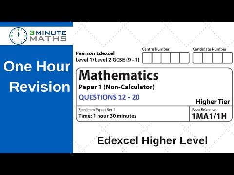Revision for Edexcel 9 - 1 Higher Maths Practice Revision Questions 12 - 20