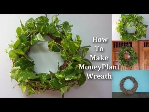 How To Make Money Plant Wreath | Door Decorating Ideas // GREEN PLANTS