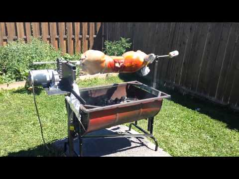 Homemade pig rotisseries using Dayton gearmotor