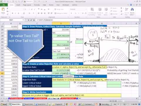 Excel 2010 Statistics 84: Two Tail t Distribution Mean Hypothesis Testing P-value & Critical Value