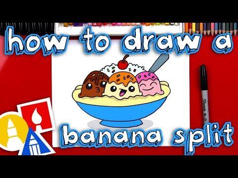 How To Draw A Banana Split Cartoon 🍌