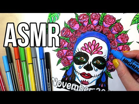 ASMR Coloring With Markers & Highlighters - No Talking