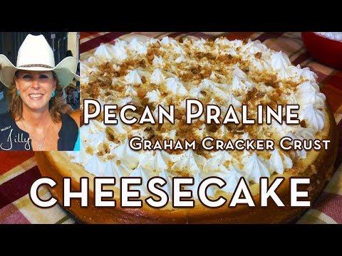 Pecan Praline Cheesecake Recipe - Graham Cracker Crust Cheesecake from Scratch