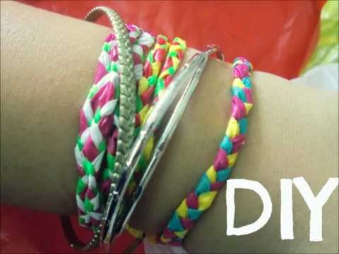 DIY Howto! Plastic Bags into Friendship Bracelets!!