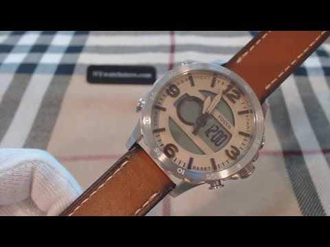 Men's Fossil Nate Analog Digital Leather Watch JR1506