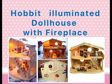 Wooden dollhouse with a fireplace furniture Lighting house Montessori waldorf wooden toy house