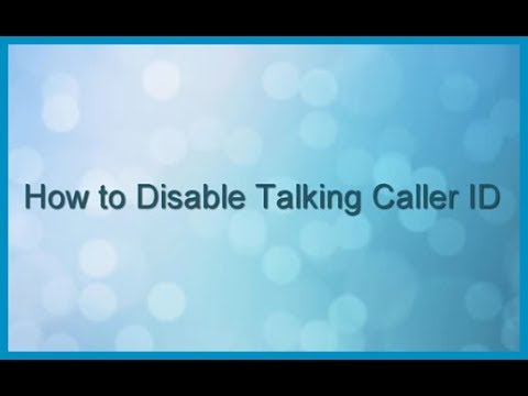 Panasonic Cordless Telephone - How to Disable Talking Caller ID