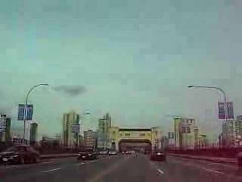 Burrard street bridge into Vancouver, BC