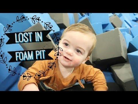BABY LOST IN FOAM PIT!