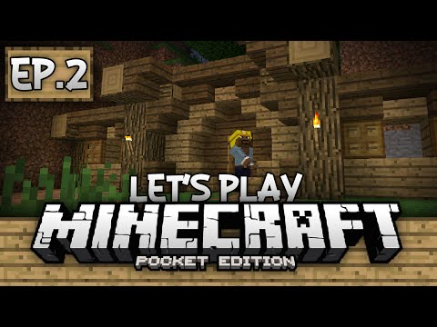 Survival Let's Play Ep. 2 - The Hobbit Hole! - Minecraft PE (Pocket Edition)
