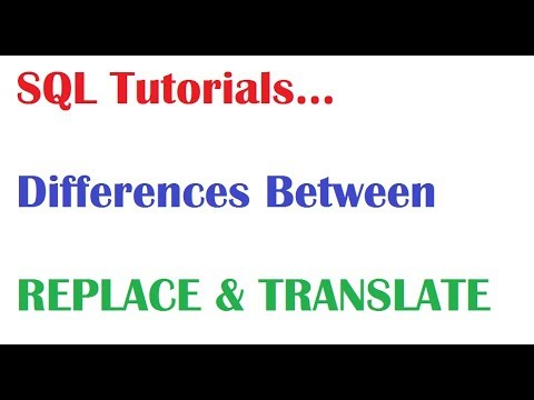 SQL Tutorial : Difference Between Translate &  Replace in SQL Oracle