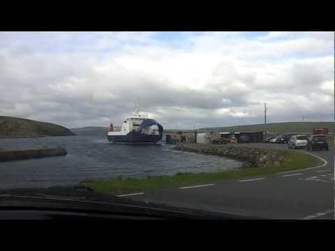 Shetland Islands Council Ferry MV BIGGA arriving in Gutcher, Yell from Belmont, Unst.