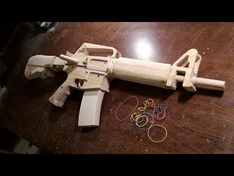 How to make a semi-auto M16 [Rubberband-Gun] - Free templates
