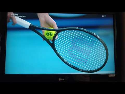 Federer's racket strings -- mains, crosses, and string savers (tension 57 pounds)