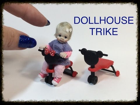 DIY MINIATURE DOLLHOUSE Baby Doll Trike Tricycle TUTORIAL VIDEO