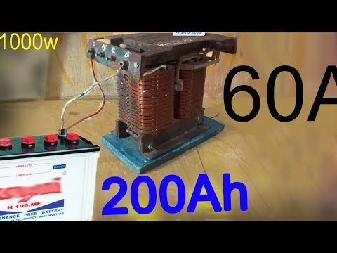 How to make a 12 volt battery charger   use a 1000W power transformer make a car charger at home   A