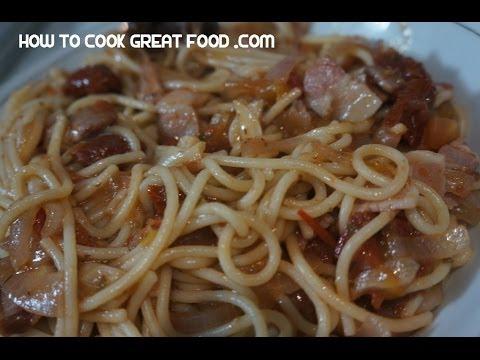 Bacon & Sun Dried Tomato Pasta Recipe  - Spaghetti
