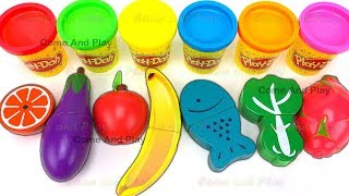 Fruit and Veg Turns to Play Doh Balls Learn Colors and Surprise Toys
