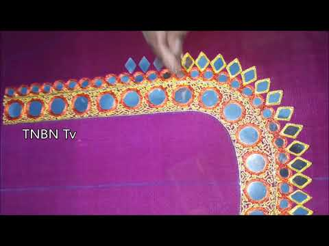 how to make mirror work blouse at home | Diy | basic embroidery stitches,designer blouse designs