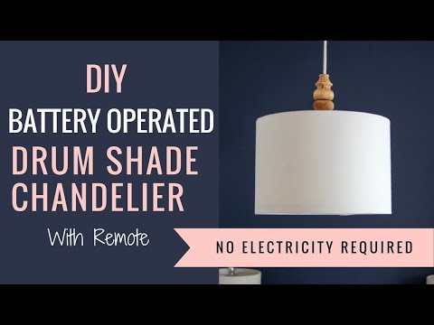 DIY Battery Operated Drum Shade Chandelier with Remote