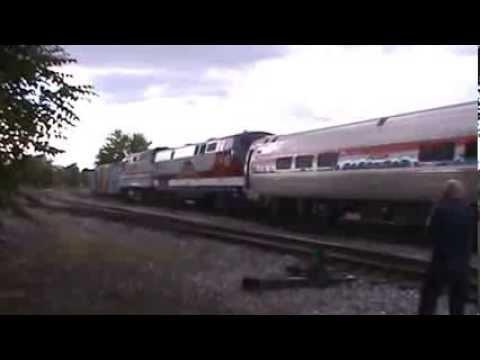 Amtrak Exhibit Train Leaving Gettysburg, PA Veterans Unit Trailing