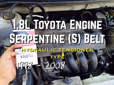 DIY 1.8L Replace S Serpentine Belt 1.8L Toyota Corolla Celic Yaris Matrix - Bundys Garage