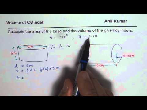 Calculate Area of Base and Volume of Cylinder