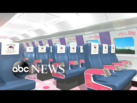 A Hello Kitty-themed bullet train will depart from stations in Japan