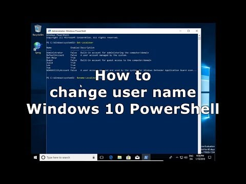 How to change user name account Windows 10 PowerShell