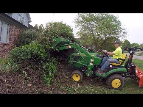 Chewing Up Bushes with Heavy Hitch Toothbar and John Deere 1025R Compact Tractor