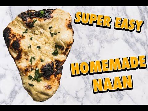 Insanely Easy Skillet Garlic Butter Naan Bread (no bake)