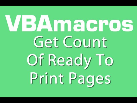 Get Count Of Ready To Print Pages - VBA Macros - Tutorial - MS Excel 2007