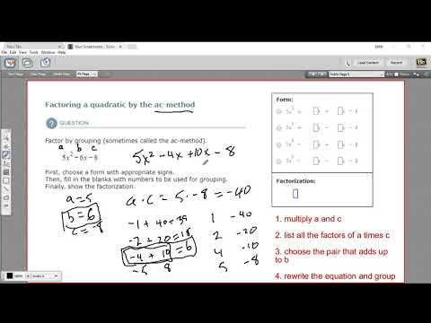 Factoring a quadratic by the ac method