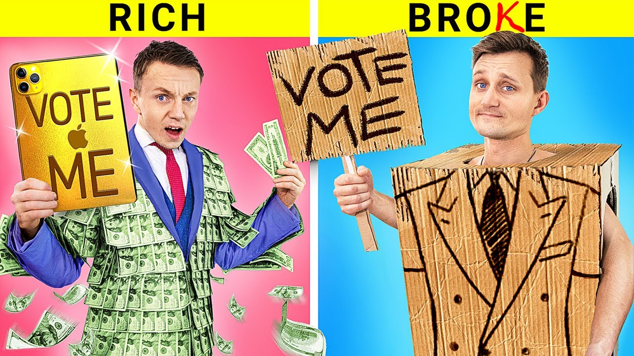 Rich vs Broke Students / President Elections! Funny Situations in College