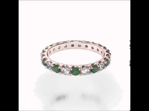 Rose Gold Emerald Diamond Eternity Ring   RGold Emerald Eternity Ring 1121