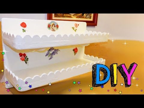 How to make a SHELVING Organizer using cardboard - inexpensive decorating ideas -  mr DIY