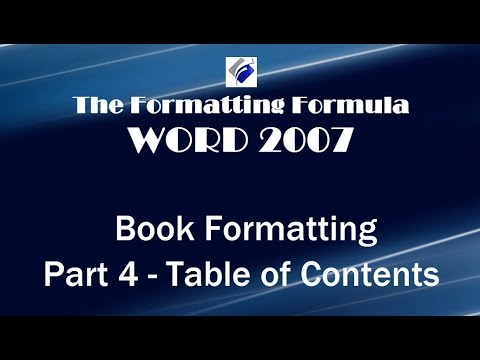 Word 2007   Book Formatting Part 4 Table of Contents