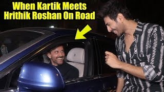 When Kartik Aaryan Meets Hrithik Roshan On Road Passing By His Side