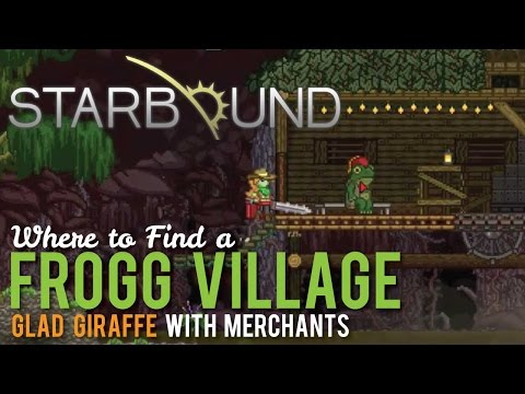 Where to find a Frogg Village with Merchants in Starbound