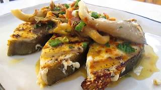 Grilled Halibut Garlic Lemon Butter Sauce And Oyster Mushrooms Poorma