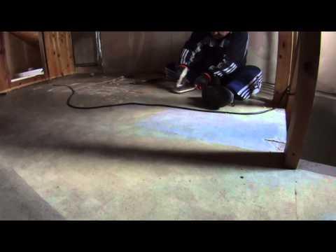 Kitchen fire and smoke damage #3 - Removing plastic carpet