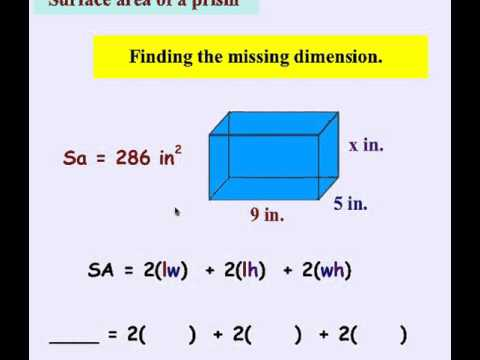 Surface Area Prism and Missing Side