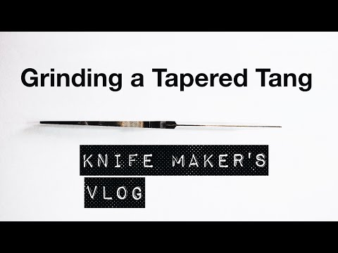 How to grind a tapered tang (🤔?) - knife maker's vlog - (always try something new in knife making)