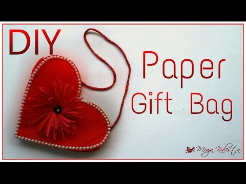 DIY Project: Easy Handmade Paper Gift Bag Making Tutorial - heart - Easy DIY Crafts!