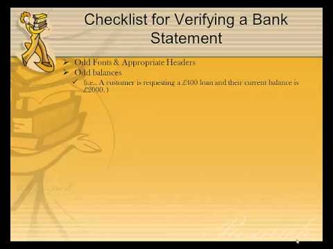 Bank Statement and Pay Slip Training Video