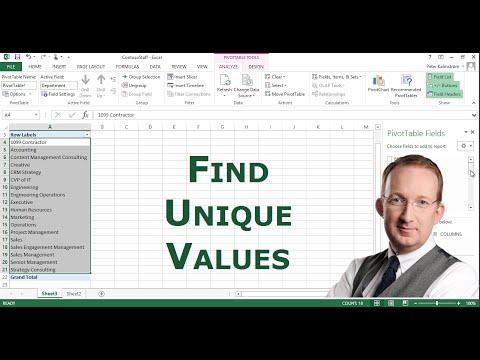 Excel - Find Unique Values