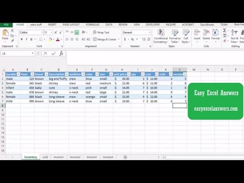 Use a table for your Inventory in Excel